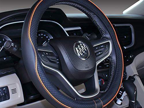 "Mayco Bell Microfiber Leather Car Large Steering wheel Cover 15.25""-16"", Black Orange"