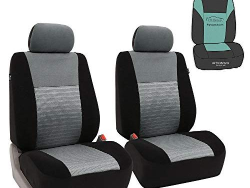 FH Group FB060102 Trendy Elegance Pair Set Bucket Car Seat Covers, Airbag Compatible w. Gift, Gray/Black Color-Fit Most Car, Truck, SUV, or Van