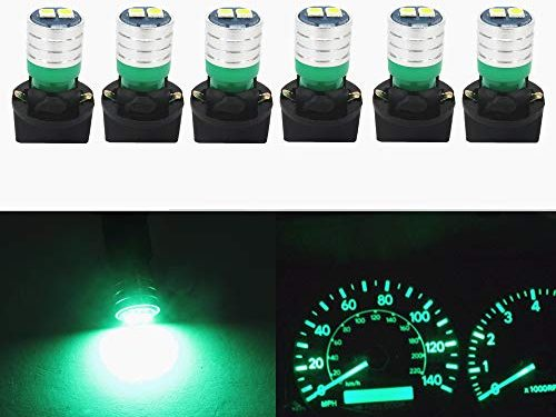 WLJH 194 Led Bulb PC195 PC194 PC168 Car Dashboard Instrument Panel Bulbs 168 2825 T10 Led Twist Socket Locks Dash Lights Gauge Cluster Led Super Bright Green,Pack of 6