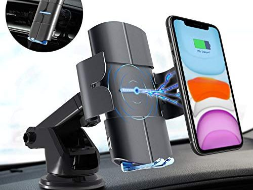 Blinkbrione Wireless Car Charger, Voice Prompt 10W Qi Fast Charging, Auto Clamp Mount Holder, Windshield Dashboard Air Vent, Compatible with iPhone Samsung Wireless and Non-Wireless Phones- Space Gray