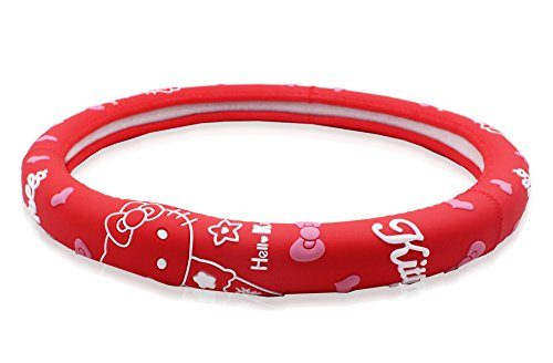 Red – Finex Silicone Hello Kitty Auto Car Steering Wheel Cover – Universal Fit