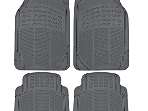 All Weather Protection Universal Fit Gray – BDK MT654PLUS Heavy Duty 4pc Front & Rear Rubber Floor Mats for Car SUV Van & Truck