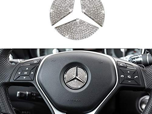 1797 Compatible Steering Wheel Logo Caps for Mercedes Benz Accessories Parts Emblem Badge Bling Decals Covers Interior Decorations W205 W212 W213 C117 C E S CLA GLA GLK Class Crystal Silver 45mm 3pcs