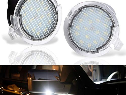 LED Side Under Mirror Puddle Light Lamp For Ford F-150 Expedition Explorer Edge Flex Fusion Taurus X Lincoln Mercury, 6000K White