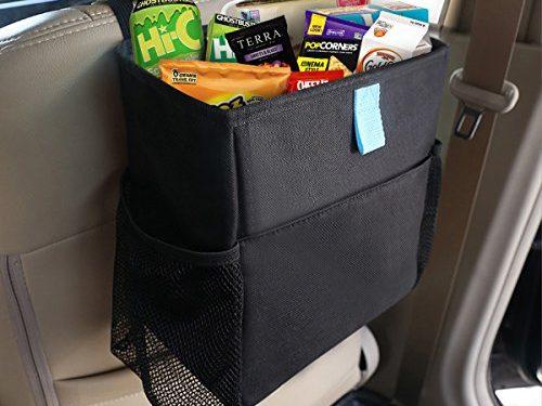 MATCC Car Seat Back Organizer Car Garbage Trash Can with Side Pocket Waterproof Car Trash Bin Storage Bag Black