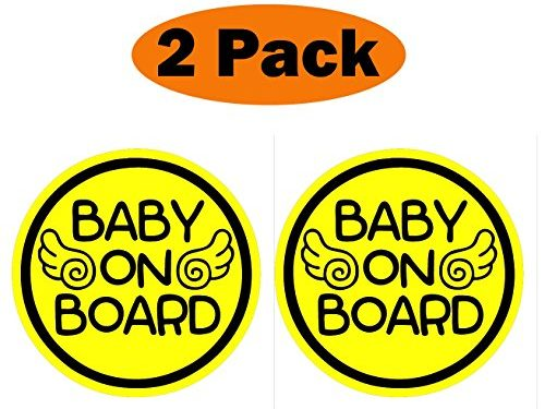 Set of 2 Safety Caution Decal Sign Magnets for Cars Bumpers – TOTOMO Baby on Board Magnet – Baby Angel ALI-030