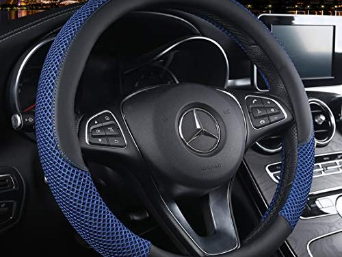 Cxtiy Universal Car Steering Wheel Cover Cool for Summer Warm for Winter Steering Wheel Cover Fit Most of Cars SUV Auto Vehicle C-Blue