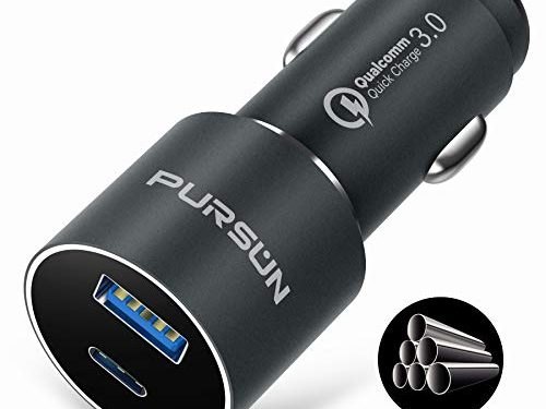 2020 Updated Aluminum PD USB Car Charger with Blue LED, Quick Charge 3.0 Technology, Fast 6A/36W Dual Ports Car Adapter, Smart Phone Charger for iPhone, iPad, Samsung, Google Pixel, Nexus and More