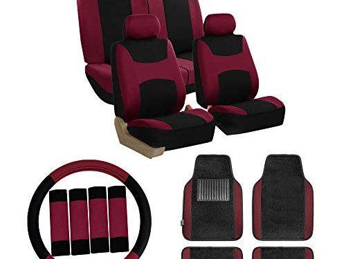 FH Group FB030115 Combo Set: Light & Breezy Cloth Seat Covers Airbag & Split W. FH2033 + F14407 Carpet Floor Mats Burgundy/Black- Universal Car, Truck, SUV, or Van