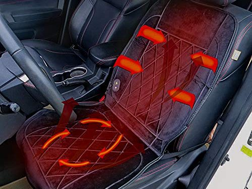 REACH AUTO PARTS Universal Car Seat Heater 12 Volt Heated Car Seat Cover Heated Pad 24 Volt Truck Heating Seat Cushion Winter Warmer Blanket Long Cable for Left and Right Hand Drivers