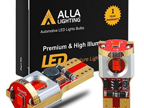 Alla Lighting Newest 194 LED Bulbs Super Bright T10 175 168 2825 W5W ZS SMD 12V LED Bulbs for Car License Plate Tag Interior Map Dome Trunk Courtesy Lights, Pure Red