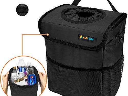 SUN CUBE Car Trash Can with Lid and Removable Leakproof Lining | Waterproof Hanging Trash Bin with Storage Pockets for Headrest, Console, Back Seat | Portable Car Organizer Garbage Can Black