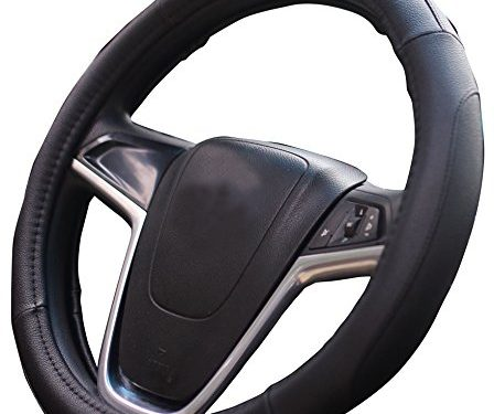 Black Microfiber Leather Auto Car Steering Wheel Cover Universal 15 inch Best Review Mayco Bell