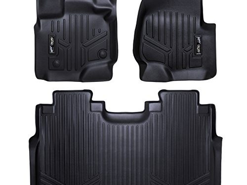 MAXFLOORMAT Floor Mats for Ford F-150 SuperCrew With Front Bucket Seats 2015-2017 Complete Set Black