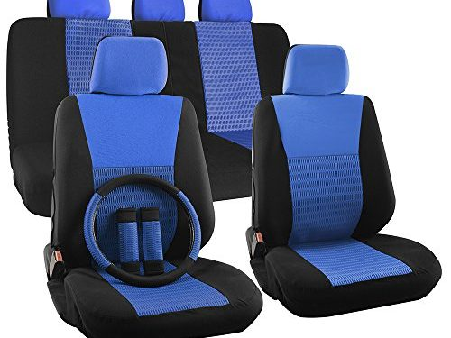 OxGord 17pc Set Flat Cloth Mesh Blue Black Wide Stripe Seat Cover Set-Airbag-Front Low Buckets-50-50 60-40 Rear Split Bench-5 Head Rests-Universal Fit for Car, Truck, Suv or Van-Steering Wheel Cover