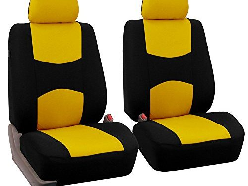 FH Group Universal Fit Flat Cloth Pair Bucket Seat Cover, Yellow/Black FH-FB050102, Fit Most Car, Truck, Suv, or Van