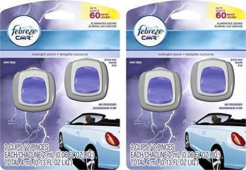 Febreze Car Vent Clips Pack of 4, Midnight Storm
