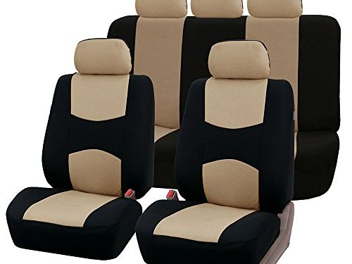 Fit Most Car, Truck, Suv, or Van – FH GROUP FH-FB051115 Multifunctional Flat Cloth Seat Covers Airbag compatible & Split , Beige/ Black Color