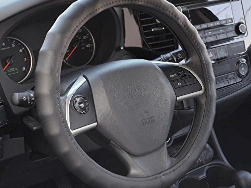 BDK SW-899-MK Black Medium Genuine Leather Steering Wheel Cover 14.5″-15.5″