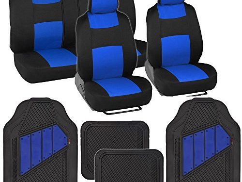Black/Blue – Two-Tone PolyCloth Car Seat Covers w/ Motor Trend Dual-Accent Heavy Duty Rubber Floor Mats