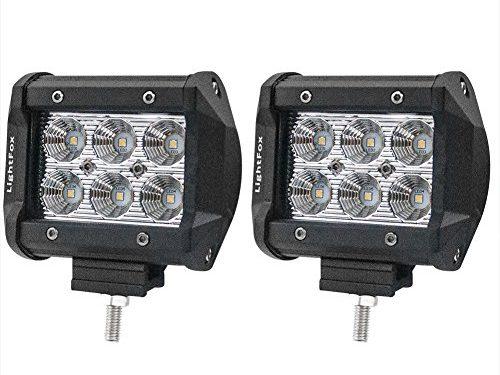 Lightfox 2Pcs 4Inch 18W Flood Cree LED Light Bar Offroad Pods Lights 4wd LED Driving Lamp Work Light Bulb Fog Lights for Truck Pickup Jeep SUV ATV UTV Waterproof, 2 Years Warranty