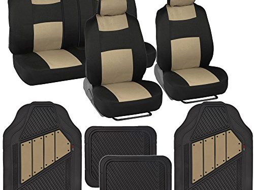 Two-Tone PolyCloth Car Seat Covers w/ Motor Trend Dual-Accent Heavy Duty Rubber Floor Mats – Black/Beige
