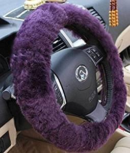 Yontree Winter Warm Faux Wool Handbrake Cover Gear Shift Cover Steering Wheel Cover 14.96″x 14.96″ 1 Set 3 Pcs Purple