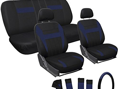 with Steering Wheel Cover – Blue Black – OxGord Car Seat Covers – 5 Head Rests – 50-50 or 60-40 Rear Split Bench – Universal for Car, Truck, Suv, or Van – Front Low Buckets – 17pc Set Flat Cloth