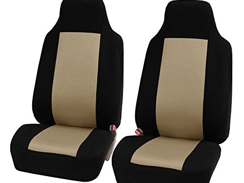 FH GROUP FH-FB102102 Classic High-Back Cloth Pair Car Seat Covers Beige / Black color- Fit Most Car, Truck, Suv, or Van
