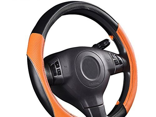 CAR PASS PVC Leather Rainbow Universal Fit Steering Wheel Cover – Orange