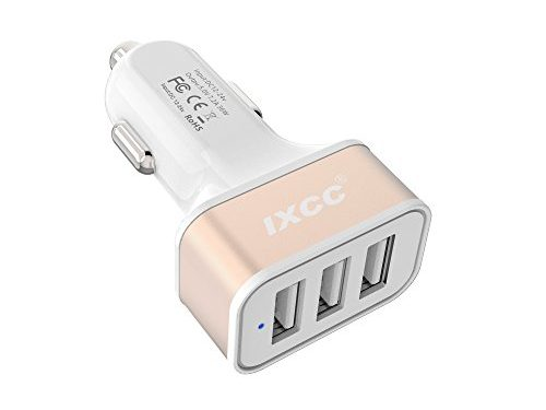 iXCC 36W/7.2A 3 Port Car Charger, Fast Car Charger Adapter for iPhone 7s 6s Plus, USB Car Charging Port for Galaxy S8+ S7 S6 Edge, iPad Pro Air mini, Note 5, LG, Nexus and More – Gold