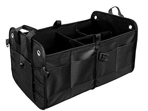 Auto Trunk Organizer Car Premium Trunk Storage Multipurpose 11 Pockets Removable Divider Waterproof by MOKOQI – Black