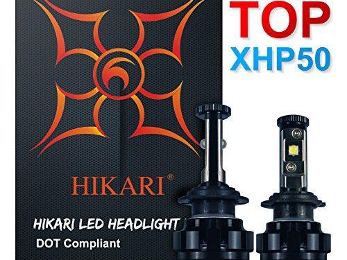 HIKARI LED Headlight Bulbs Conversion Kit -H7,CREE XHP50 9600lm 6K Cool White,2 Yr Warranty