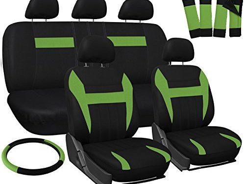 OxGord Car Seat Cover – Green Black fits Car, Truck, Van, SUV – Full Set