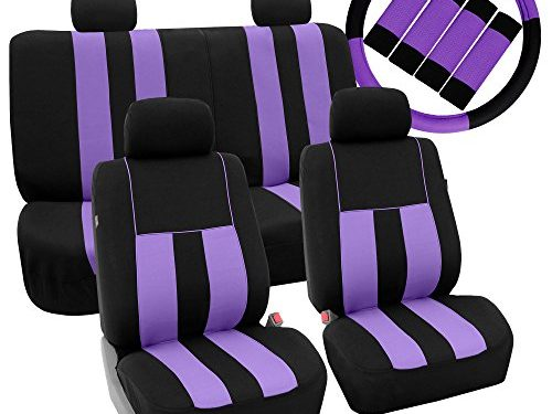 FH GROUP Fabric Full Set Seat Covers Airbag & Split w. Steering Wheel Cover and Seat Belt Pads, Purple / Black – Fit Most Car, Truck, Suv, or Van