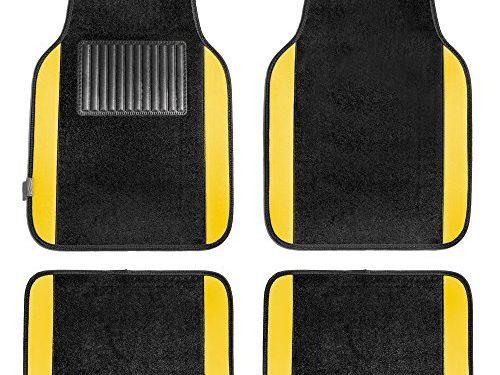 FH Group F14407YELLOW Premium Full Set Carpet Floor Mat Sedan and SUV with Driver Heel Pad Yellow