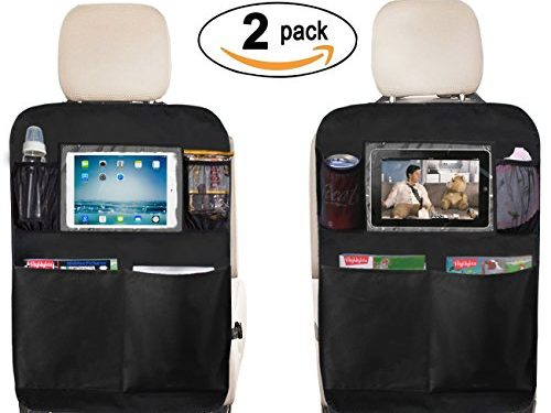 Kick Mat Seat Back Protectors with PVC Pockets Seat Covers For Car BackSeat, 2 Pack 2-Black