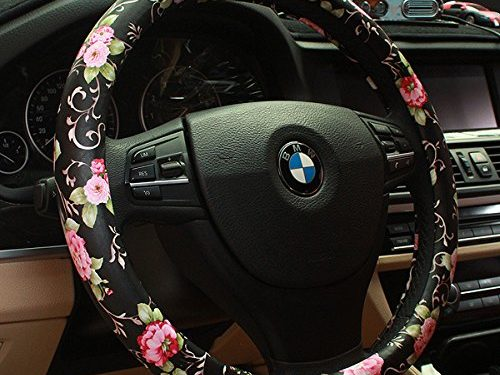 BINSHEO PU Leather Auto Car Steering Wheel Cover,for Women Girls Ladies,Anti Slip Non-toxic Universal 15 inch,Chinese Style, Black with Red Flowers