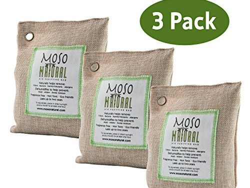 Moso Natural Air Purifying Bag. Odor Eliminator for Cars, Closets, Bathrooms and Pet Areas. Captures and Eliminates Odors. Natural, 3 Pack