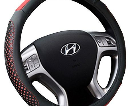 Black&Red – Genuine Leather Heavy Duty Thick Elegant Anti-Slip15 Inch – Car Steering Wheel Cover