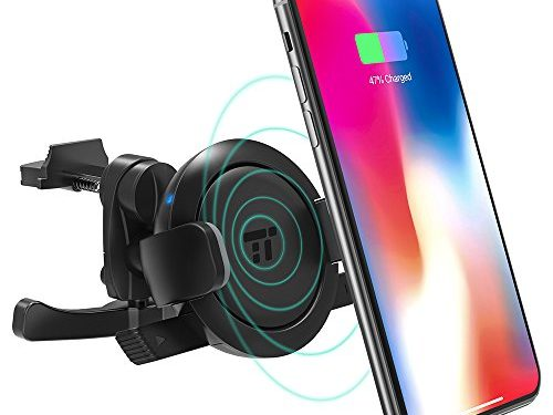 TaoTronics Wireless Car Charger, Vent Phone Holder for Car with Qi Wireless Charging, Car Phone Mount for iPhone X/8 Plus/8, Galaxy S8 Plus/S8/Note8, and All Smartphones