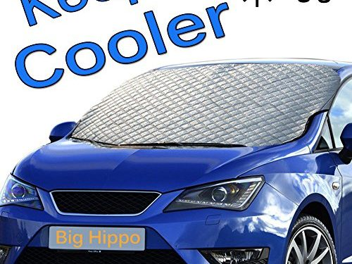 Big Hippo Windshield Sun Shade, Extra Large & Thick Sunshade Cover Windproof with Door Flaps Protect Windshield and Wiper from Sun, Ice, Snow, Frost, in All Weather, Fit for Most Vehicle 62.99″×43.30″