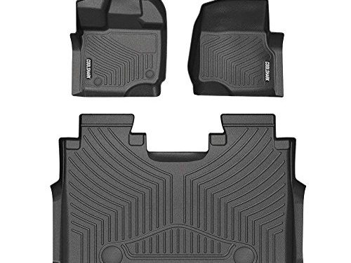 COOLSHARK Floor Mats Full Set Black Waterproof Floor Liners Fit for 2015-2018 FORD F-150 SuperCrew 1st and 2nd Row Included-All weather Heavy Duty Floor Protection