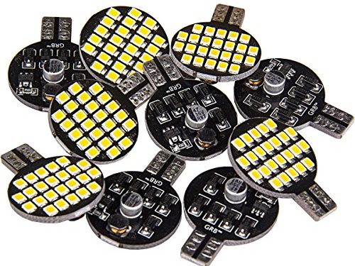 10x Super Bright 921 194 T10 LED Bulb, Warm White 12V 24-SMD Wedge Lamp For Iandscaping Boat RV Trailer Camper 5th wheel Interior Light Pack of 10