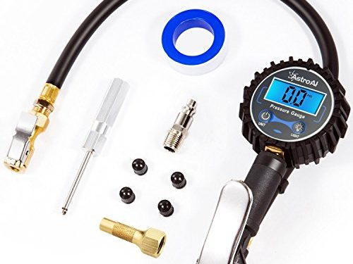 AstroAI Digital Tire Inflator with Pressure Gauge, 250 PSI Air Chuck and Compressor Accessories Heavy Duty with Rubber Hose and Quick Connect Coupler for 0.1 Display Resolution, Black