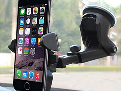 MANORDS Universal Car Mount Holder iPhone, Long Neck One Touch Car Mount Holder Compatible iPhone X 8 7 7s 6s Plus 6s 5s 5c Samsung Galaxy S8 Edge S7 S6 Note 5 Car Stand More Black