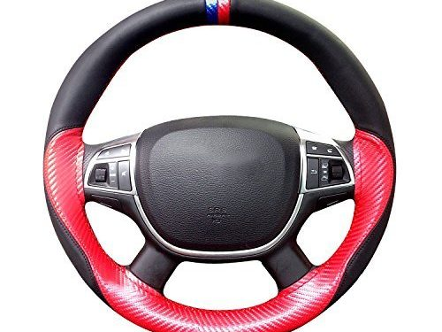 AutoCarSteeringWheel CoverswithBreathable MicrofiberLeather,Universal15InchDiameter by Hand Sewing Wheel Red