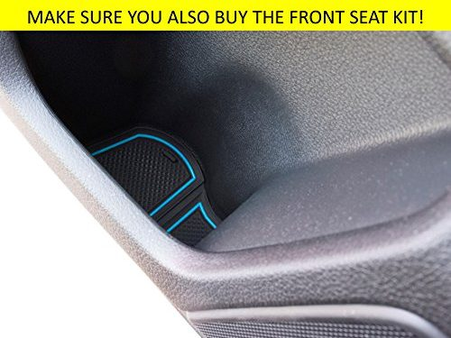 Custom Fit Cup, Door and Center Console Liner Accessories for Honda Civic 2018 2017 2016 4-pc Set Hatchback Back Seat, Blue Trim