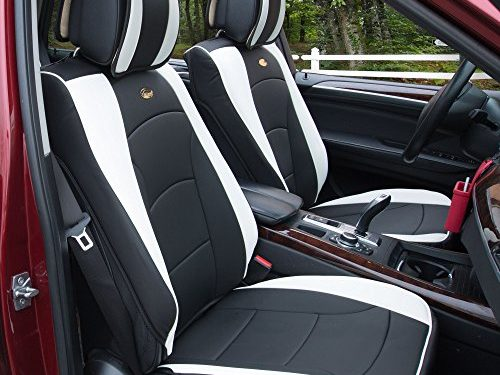 FH Group PU205WHITE102 Black PU205102 Ultra Comfort Leatherette Front Seat Cushions Airbag Compatible White