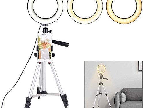 B-Land 6.2″ Ring Light with Tripod Stand for YouTube Video and Makeup, Mini LED Camera Light with Cell Phone Holder Desktop LED Lamp with 3 Light Modes & 11 Brightness Level